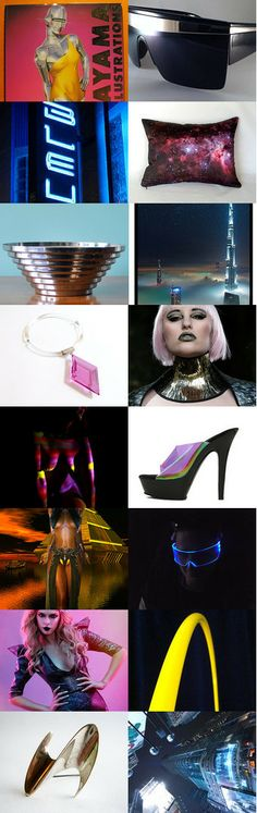 Electric Lady   #electric #lady #futuristic #scifi #space #pink #yellow #black #blue #neon #blacklight #night #city #sexy #erotic #sorayama #sunglasses #metal #chrome #robot #artificial #1980s