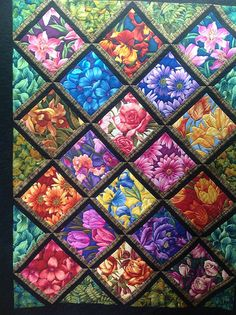 Flowers by Jessicas Quilting Studio, -- I like this treatment of large flower prints. Pieced by Karena Reid Claire, Idea for all those strange size pieces I gave you? Flowers, yes making this some day, great way to use all those beautiful large flower mat Colchas Quilting, Scrappy Quilts, Easy Quilts, Quilting Projects, Quilting Designs, Crazy Quilting, Quilting Ideas, Batik Quilts, Quilting Templates