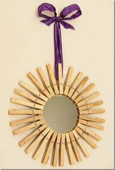 creative mirror with clothespins, imagine the possibilities - add a little paint even.