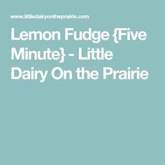 Lemon Fudge {Five Minute} - Little Dairy On the Prairie