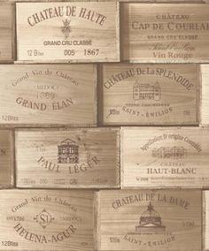 Carta Da Parati Tipo Casse Legno Per Vino Francese PE-11-01-1