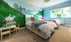 Countryside inspired kids twin bedroom.