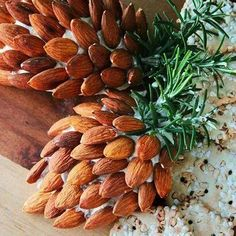 Pinecone cheeseball. Use your favorite cheeseball recipe, shape into an oblong sphere (to mimic the shape of a pinecone) and adorn with almonds. Use fresh rosemary sprigs for the stem. Cute!