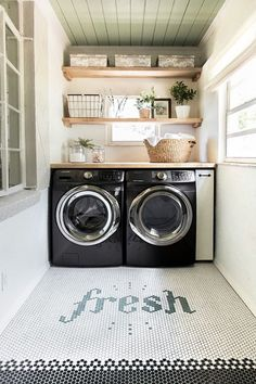 laundry room design, white laundry room with laundry room storage, laundry room organization with neutral floor tile, neutral mudroom design with laundry and folding counter and laundry sink Laundry Room Organization, Laundry Room Design, Organization Ideas, Laundry Room Tile, Laundry Room Shelves, Small Laundry Rooms, Garage Laundry, Storage Ideas, Laundry Storage