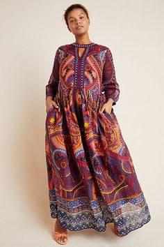 Bohemian Dresses Plus Size With Long Sleeves and Pockets.  Love this plus size embroidered florals, sheer sleeves, and a striking abstract motif make this plus maxi dress Boho an occasion-ready essential #BohemianFashion #Bohemian #BoHoFashion #BoHo #BohoChic