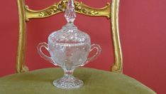 CLEAR GLASS FOOTED CANDY DISH WITH LID ETCHED WITH FLOWERS