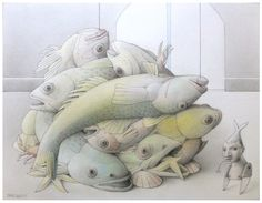"Jane Lewis ""Earthlings - By-Catch: A Marine Atrocity"" (graphite and coloured pencil on paper) Jane Lewis, Fish Tales, Coloured Pencils, Another Man, First Art, Worlds Of Fun, Art Pieces, Religion, Graphite"