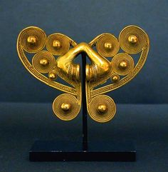 Colombia   Tairona Gold Butterfly Nose Ornament   A.D. 1000-1500