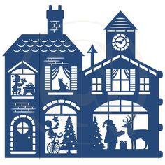 Paper Christmas Decorations, Christmas Paper, All Things Christmas, Christmas Holidays, Christmas Crafts, Santa's Village, House Template, Cricut, Santas Workshop