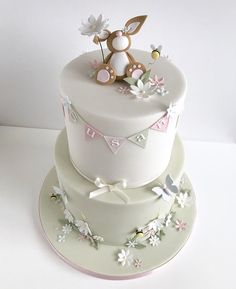 Blossoms, butterflies, bees and a bunny 😊💕🦋🐝🌸 Baby First Birthday Cake, Birthday Cake Girls, Happy Birthday Susan, Christening Cake Girls, Butterfly Birthday Cakes, Fake Cake, Baby Shower Cakes For Boys, Sugar Cake, Girl Cakes