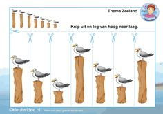 Knip de meeuwen uit en leg ze van hoog naar laag, thema Zeeland, kleuteridee, Kindergarten math activity, free printable. Summer Crafts For Kids, Summer Kids, Preschool Learning Activities, Kids Learning, Community Helpers Preschool, Special Needs Kids, Childhood Education, In Kindergarten, Fine Motor
