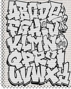 Graffiti Alphabet Block Style Images Collection: Skecth Design Of Graffiti Alphabet A Z Block Style From Espace