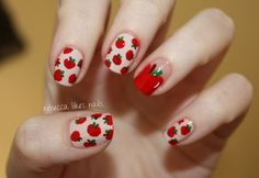 i am enamored with this apple print done by rebecca likes nails!