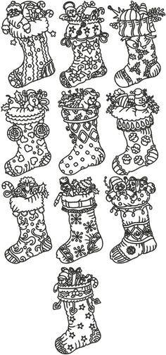 Advanced Embroidery Designs - One-Color Christmas Stocking Set