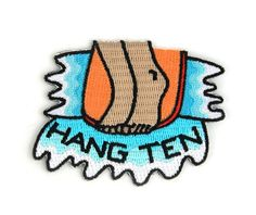Hang Ten Decorative Embroidered Sew or Iron-on Backing Patch