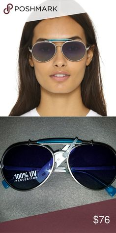Wildfox Goldie Deluxe Sunglasses Wildfox Deluxe Goldie Sunglasses brushed metal frames gradient lenses purple - blue accent Wildfox Accessories Sunglasses