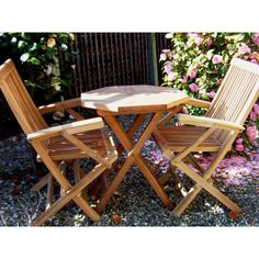 Vintage Eco Teak Seater Octagonal Folding Armchair Set u The UK us No Garden Furniture