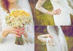 Yellow flowers bouquet and lace wedding dress.