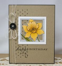 i'd squeeze someone to death if I got this daffodil card - how cute is this?!