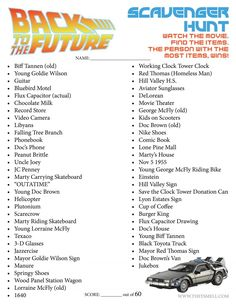 30th Anniversary of Back to the Future - celebrate the 30th anniversary re-release with this FREE Back to the Future movie scavenger hunt printable.