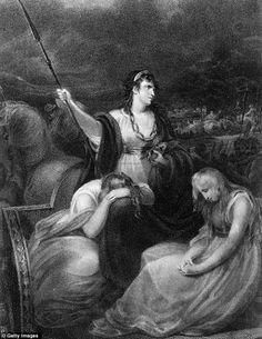 Warrior: Queen Boudicca of the Iceni, a British tribe which rose in revolt against the Romans, pictured alongside her daughters in this painting by Henry Singleton Iceni Tribe, Footballers Wives, Essex Girls, Dame Helen, Warrior Queen, Roman Empire, Fine Art Photography, Documentaries, The Past
