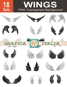 Wing Clip Art  18 Wing Set  Angel Wings Clipart  by graficaitalia