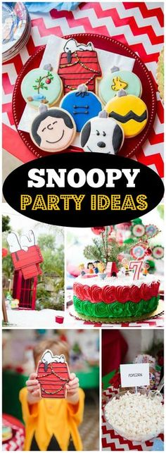 This party features ideas from A Charlie Brown Christmas! See more party ideas… Charlie Brown Christmas Movie, Charlie Brown Y Snoopy, Christmas Movie Night, Christmas Party Themes, Christmas Birthday, Kids Christmas, Holiday Movie, Snoopy Birthday, Snoopy Party