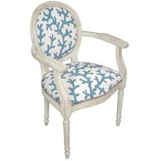 Blue Coral Needlepoint Chair via The Beach Look. Click on the image to see more!