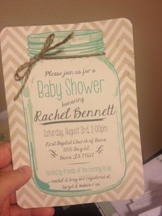 Baby shower invitations country rustic western cowboy mason jar chevron