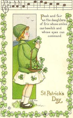 Patrick's Day! Best Picture For Patrick day poster For Your Taste You are looking for something, and it is going to tell you. St Patricks Day Cards, Happy St Patricks Day, Vintage Greeting Cards, Vintage Postcards, Fete Saint Patrick, Erin Go Braugh, Desserts Valentinstag, Images Vintage, Irish Blessing