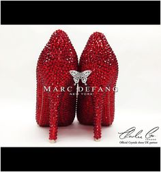 RED allover Crystal filled everywhere Peep Toe platforms by MDNY