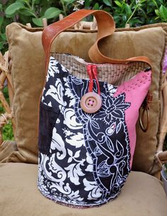 Recycled Tote Bag with Leather Handle and by LaBohemeBelisama, $70.00