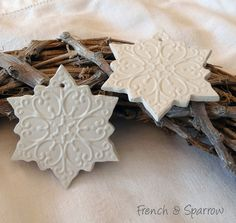 Snowflake Clay Tags