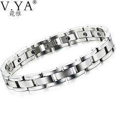 316L Stainless Steel Bracelets Mens Link Chain Accessories 23CM Black Magnetic Stone Bracelet for Men Male Jewelry