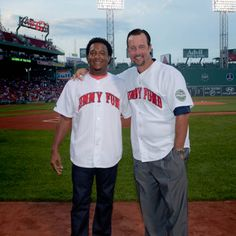 @Boston Red Sox  legends Pedro Martinez and Tim Wakefield pose at Fenway Park in #Boston during the WEEI/NESN @The Jimmy Fund  Radio-Telethon. #KCANCER Photo credit: Metrodesign