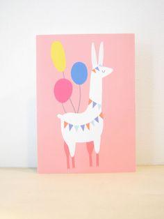 Party Llama Greeting Card, Blank Notecard, bunting, balloons, fiesta celebration, pinata, hello, hola, birthday animal illustration