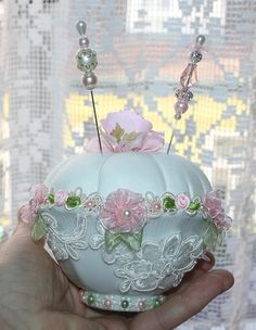 This one's too elaborate for me, but I love the idea of the pincushion in a bowl.