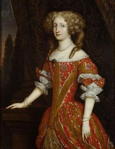 Empress Eleonore of Pfalz-Neuburg wears a brocade dress with a very low waist and elbow-length sleeves gathered in puffs, 1670s or '80s.