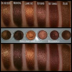 Colourpop shadows im ISO. If there's an X over the name of the shadow, then that means I've got it already