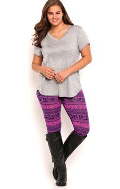 Plus Size Elephant Stripe Print Leggings