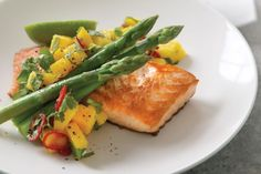 Salmon with mango & chilli salsa
