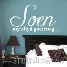 Soen my Altyd Goeienag - absolutely perfect for any bedroom! Sophisticated, yet relaxed, hierdie slaapkamer muurplakker will compliment any type of decor choices and in fact, could be the focus point of the room. And: Get 9 dotty flowers in same colour choice for free!