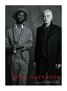 Emerging musician Gary Clark Jr. and legendary Led Zeppelin guitarist Jimmy Page wearing John Varvatos photographed by Danny Clinch in London for the John Varvatos Spring 2013 brand campaign. Full story: http://ritzherald.com/fr/item/74-jimmy-page-et-gary-clark-jr-sont-les-vedettes-de-la-campagne-printemps-2013-de-john-varvatos