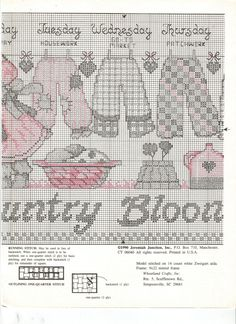 Schema punto croce Country Bloomers 03