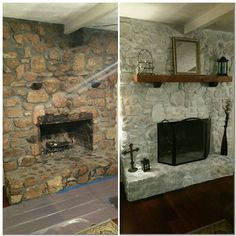 White wash rock fireplace 50% white primer 50%water Brush on and dab with a wash cloth. - Cottage Life Today