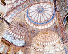 The historic Blue Mosque in Istanbul may have been built during 1609 and 1616 but it still a tourism attraction, with its vast array of coloured domes and archways bringing the inside to life