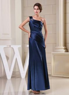 Navy Blue One Shoulder Maternity Bridesmaid Dress with Ruching in Column