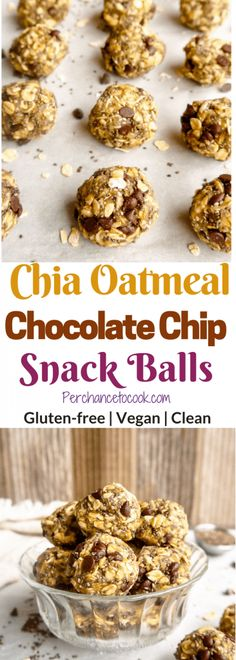 Chia Oatmeal Chocolate Chip Snack Balls (GF, Vegan) | Perchance to Cook, www.perchancetocook.com