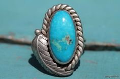 Vintage Navajo Style Sterling Silver Turquoise Ring New Old