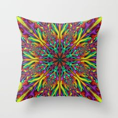 Crazy colors 3D mandala Throw Pillow on Society6. #mandala, #fractal, #psychedelic, #Society6, #throwpillow